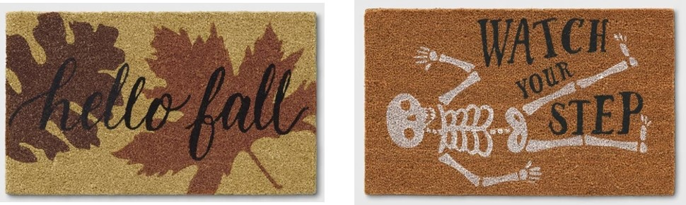 """Target """"Hello Fall"""" and """"Watch Your Step"""" fall doormats."""
