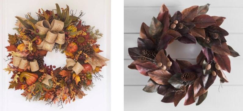Balsam Hill Fall Harvest Wreath and Kirkland's Brown and Burgundy Magnolia Wreath.