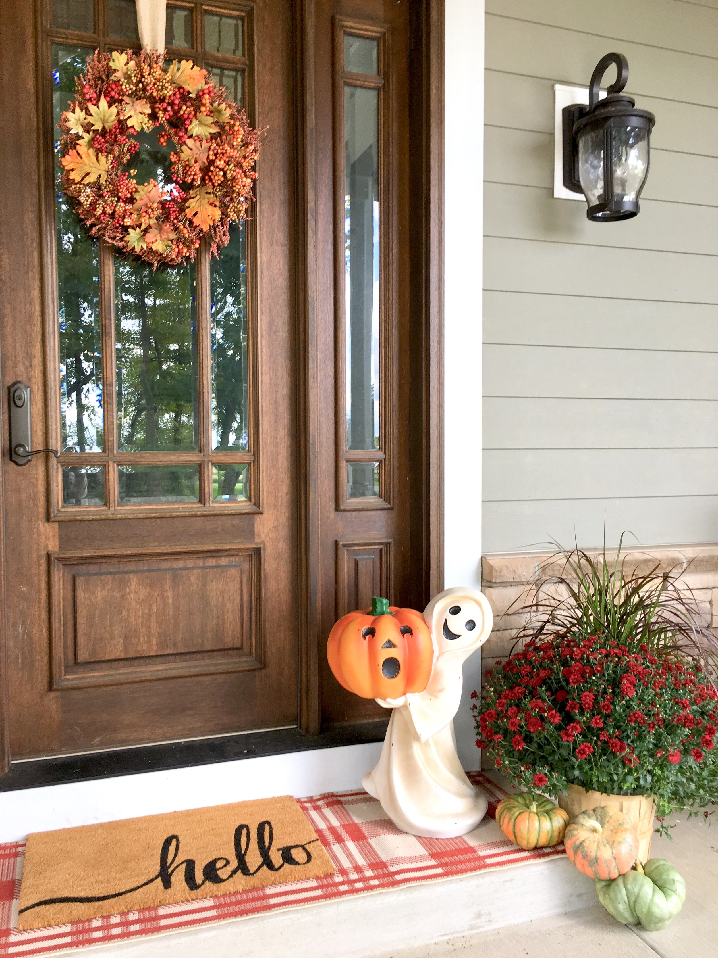 Balsam Hill Enchanted Halloween - Farmhouse Redefined Front Porch with Outdoor Fiber Optic Friendly Ghost.