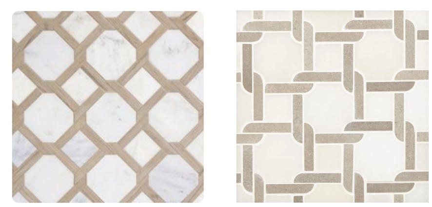 Marble lattice mosaic tile by Maravilla at Floor and Decor.