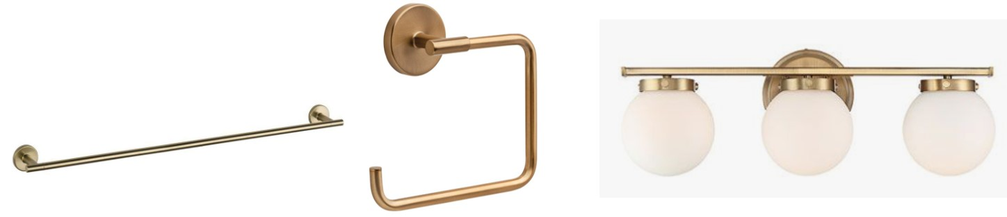 Brass bathroom accents by Delta and Nicollet.