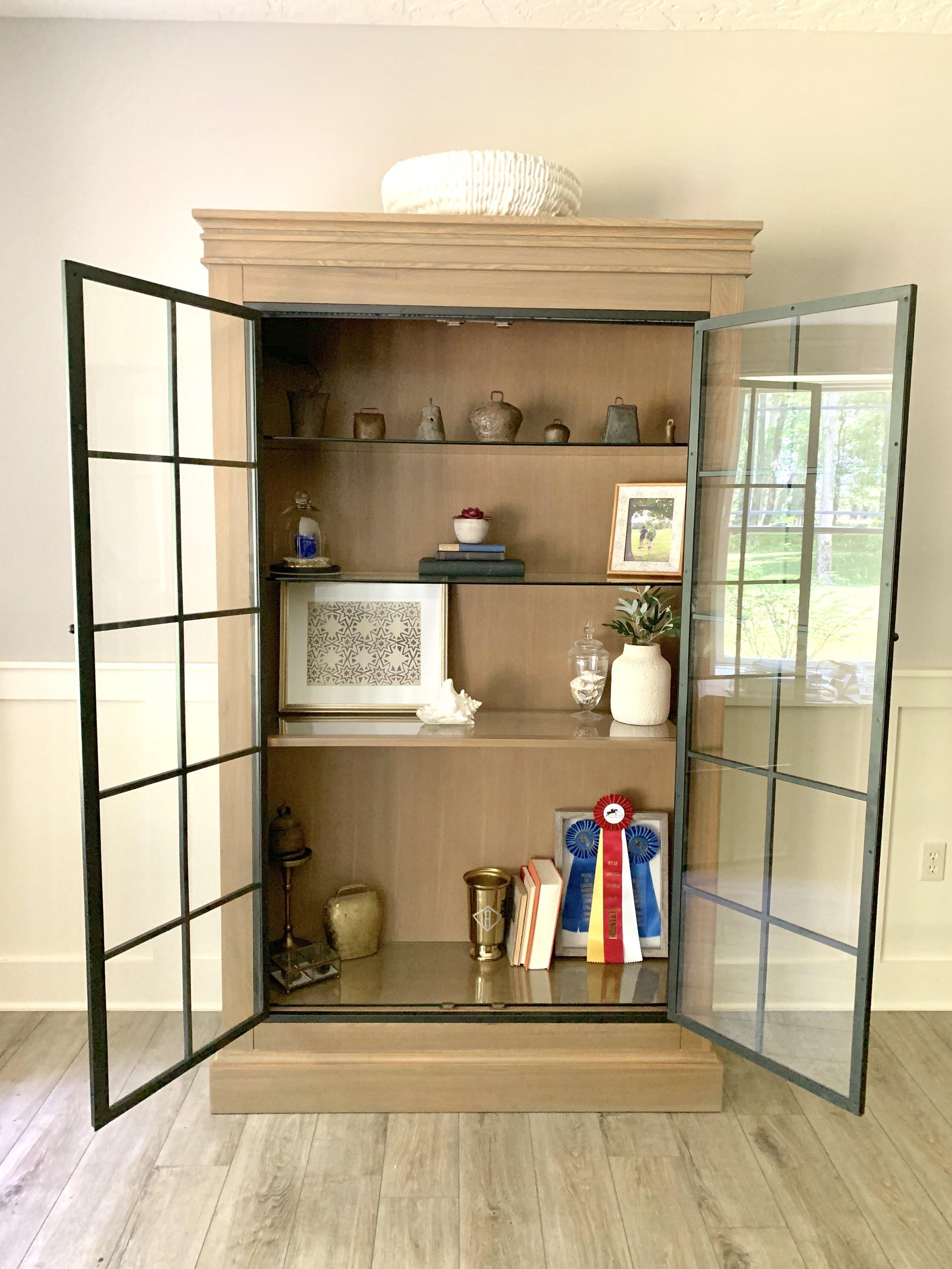 Ballard Designs Delano Iron Door Cabinet with modern farmhouse décor. Farmhouse Redefined