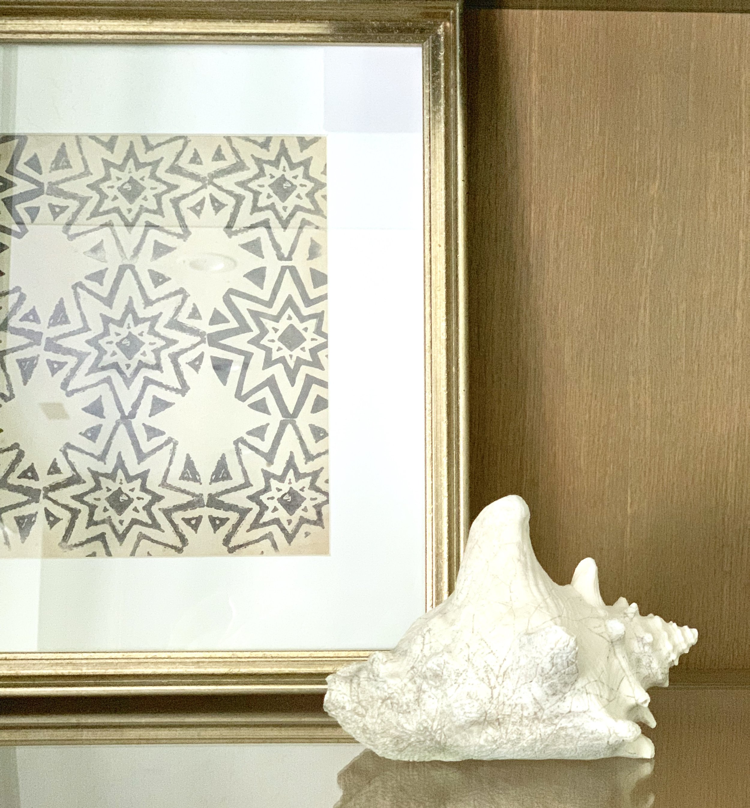Ballard Designs Petite Vintage Blockprint Art modern farmhouse shelf décor. Farmhouse Redefined.