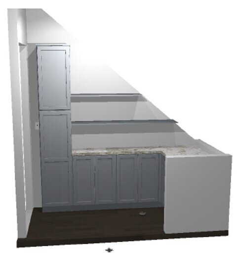 A preview rendering of the pantry space!