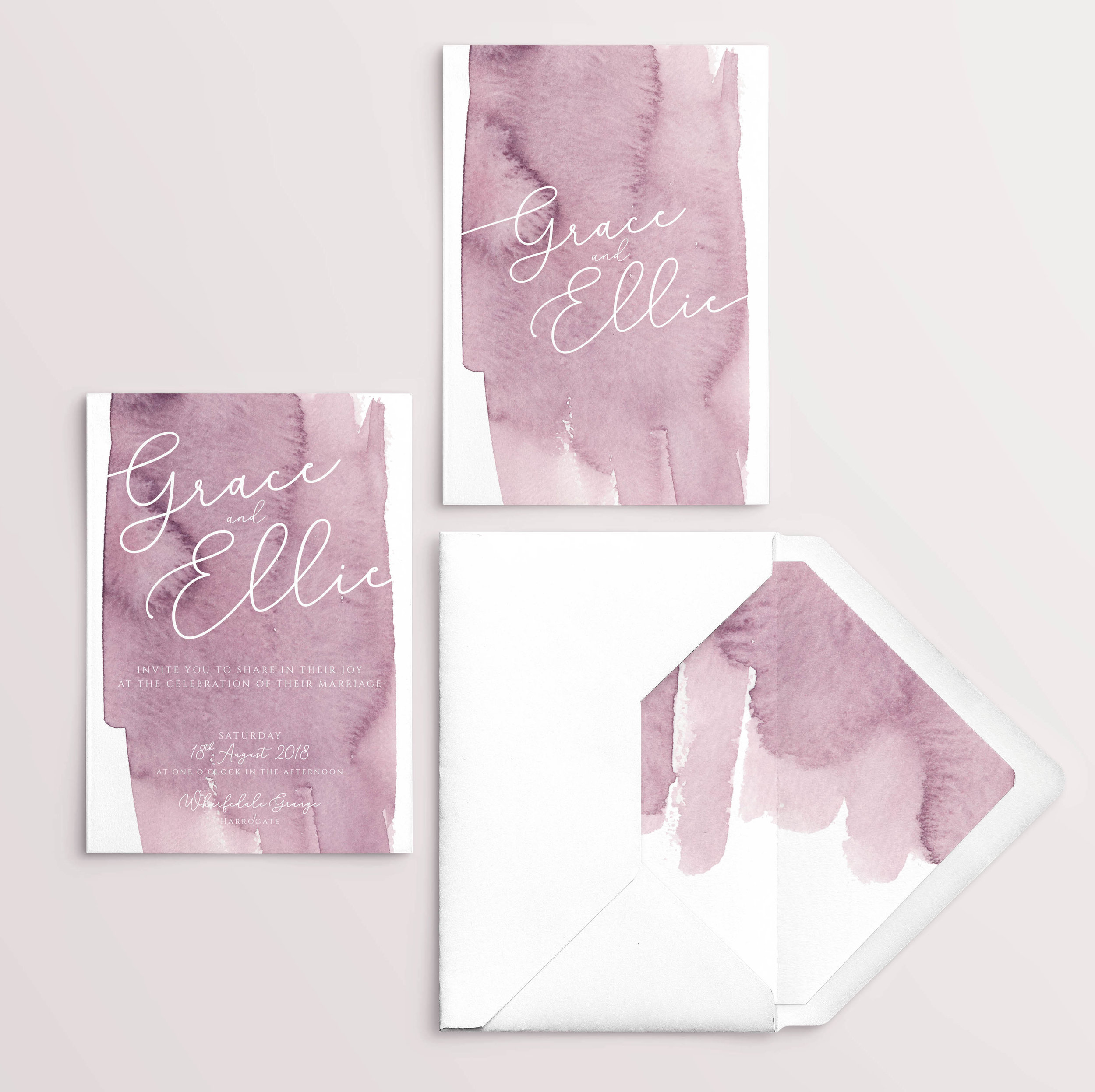 Water Colour Wash Wedding Stationery - Modern Pink