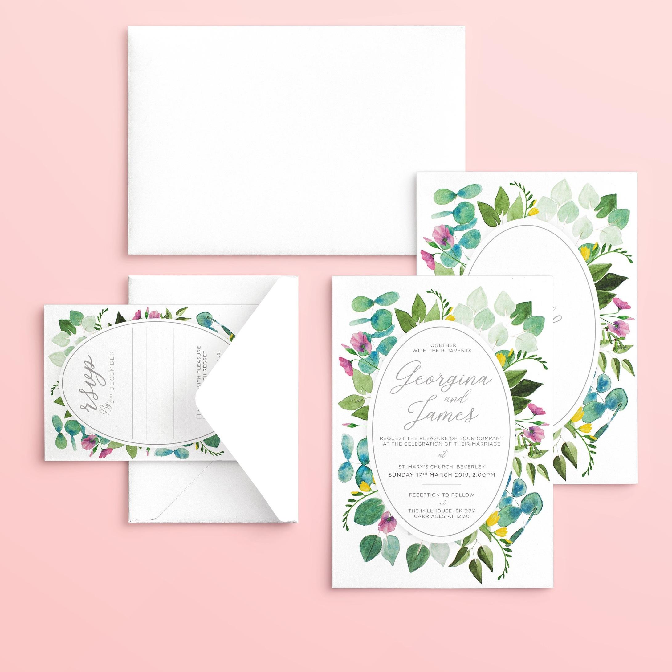 Spring Wreath Wedding Stationery