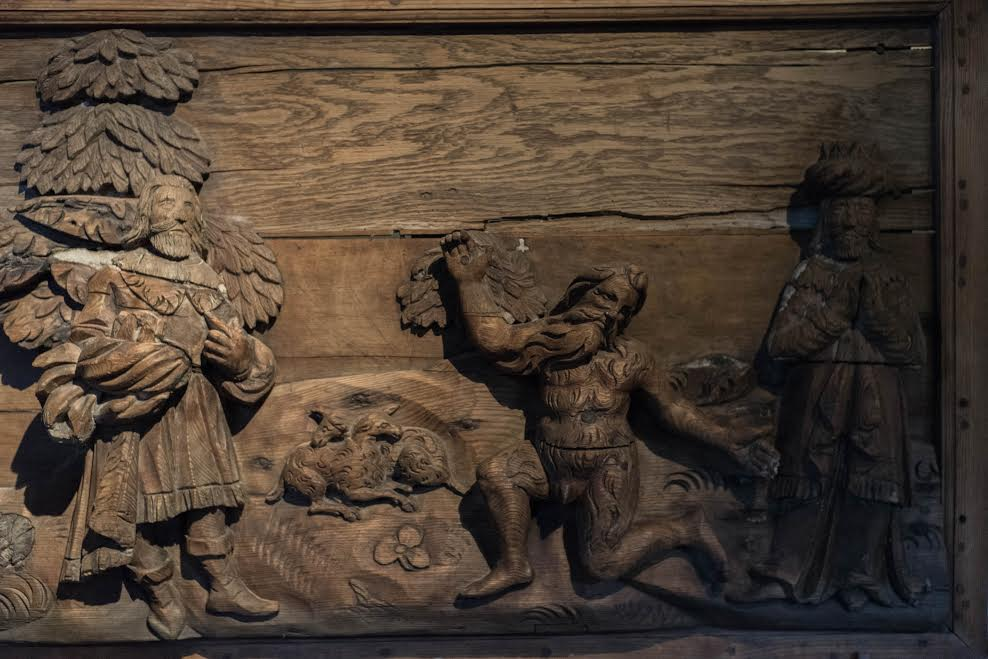 Wild man on a church panel in Sogn Folk Museum, Norway. Private photo.
