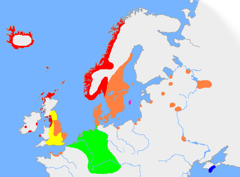 The extent of Old Norse and closely related tongues in the 10th century. West Norse in red, East Norse in Orange. Gutnish in purple.