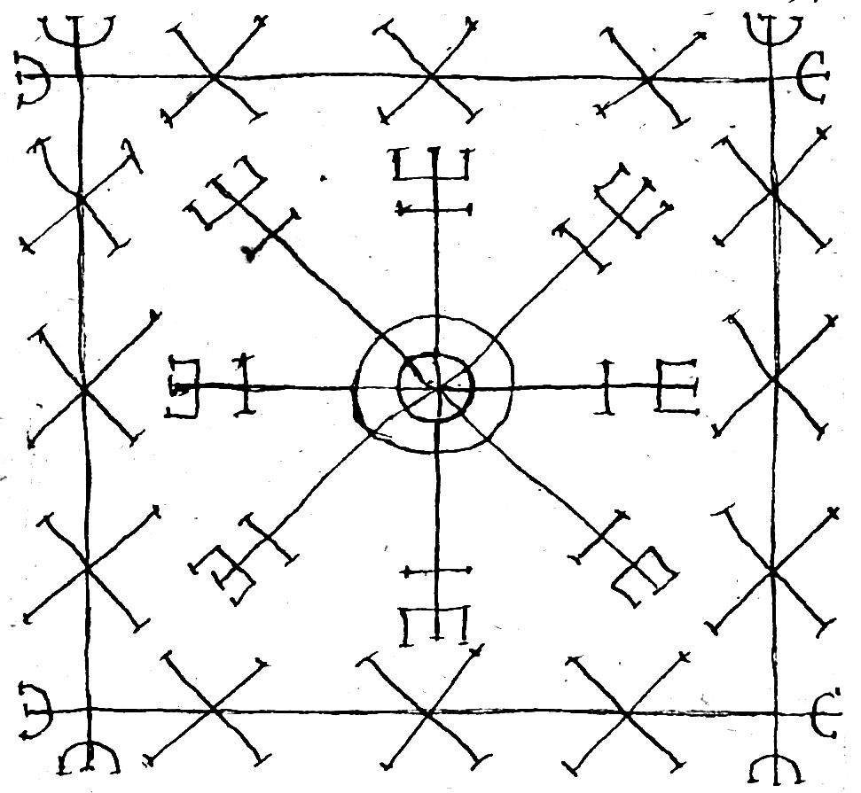"""""""Þetta er ægirs hiálm n stóre [...] Þetta er Móises innsigle"""" JS 375 8vo, 46v"""