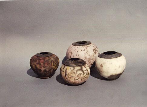 Raku fired Wheel thrown Stoneware