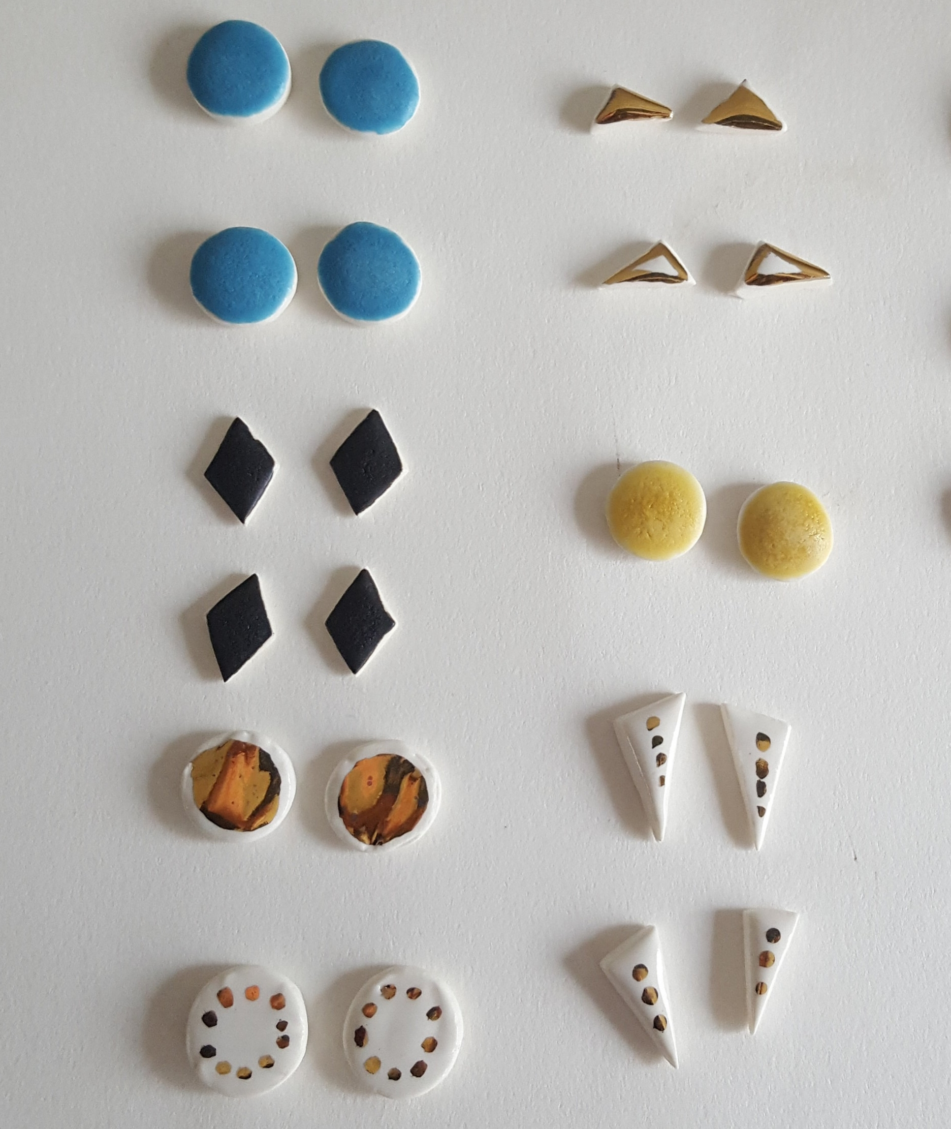 Porcelain earrings with Sterling Silver