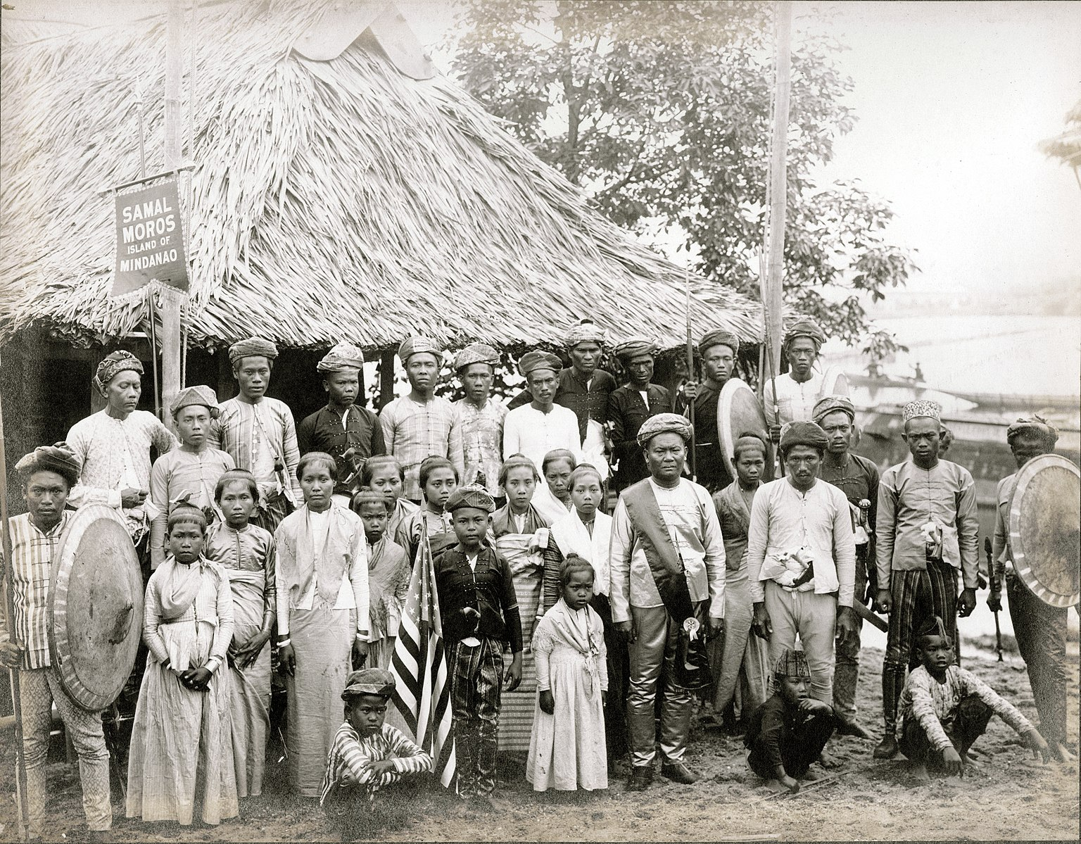 Colony of Samal Moros from the Philippines in a Department Of Anthropology exhibit at the 1904 World's Fair.