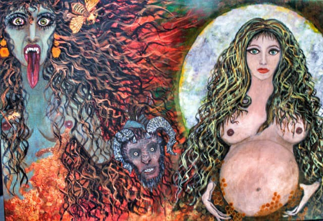 2017 Divine Feminine; Kali Ma the destroyer, and Sophia the Creator, Acrylic on Canvas by Marcia Hahn 2' x 3', SOLD