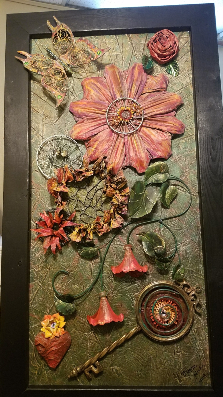 Flowers Sacred Geometry, Key to the Creator's Heart, Assemblage Art by Marcia Hahn (Festus Main Street Fence Art for Auction in Spring of 2019)