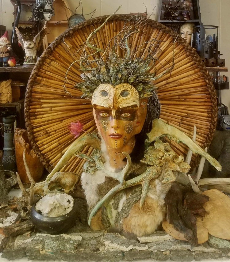 Triple Goddess. Maiden, Mother, Crone. 1st Place Winner. 2018. Assemblage Art by Marcia Hahn. For Sale. Large Piece.
