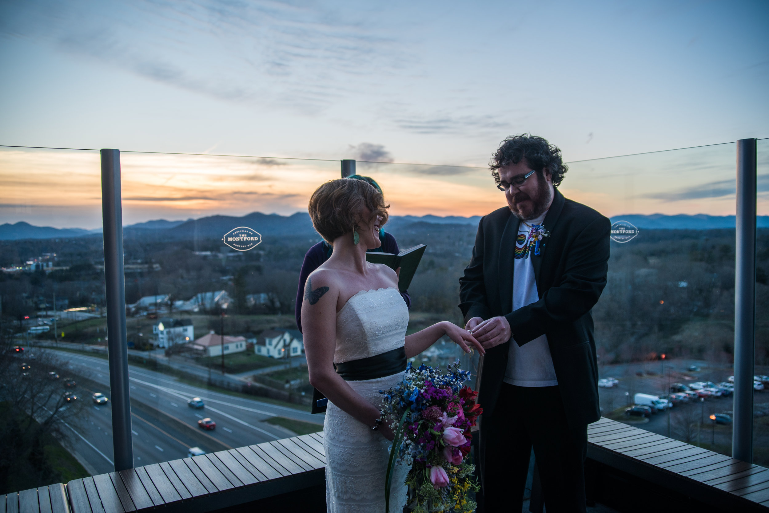 Sunset at The Montford Rooftop Bar in Asheville, NC