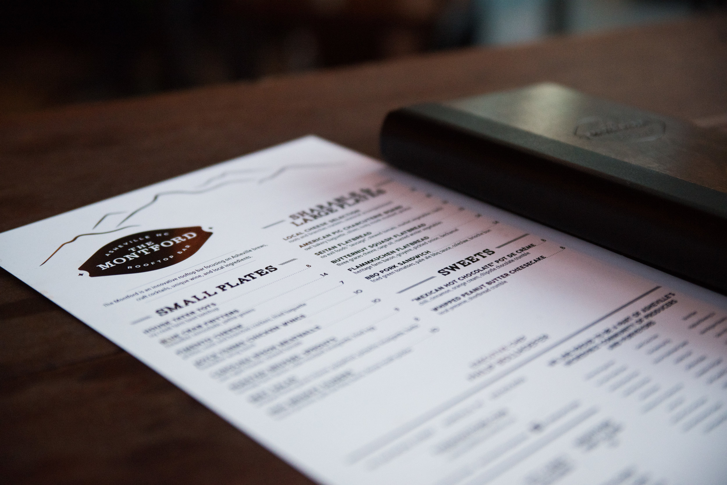 The Montford Rooftop Bar rotating menu in Asheville, NC