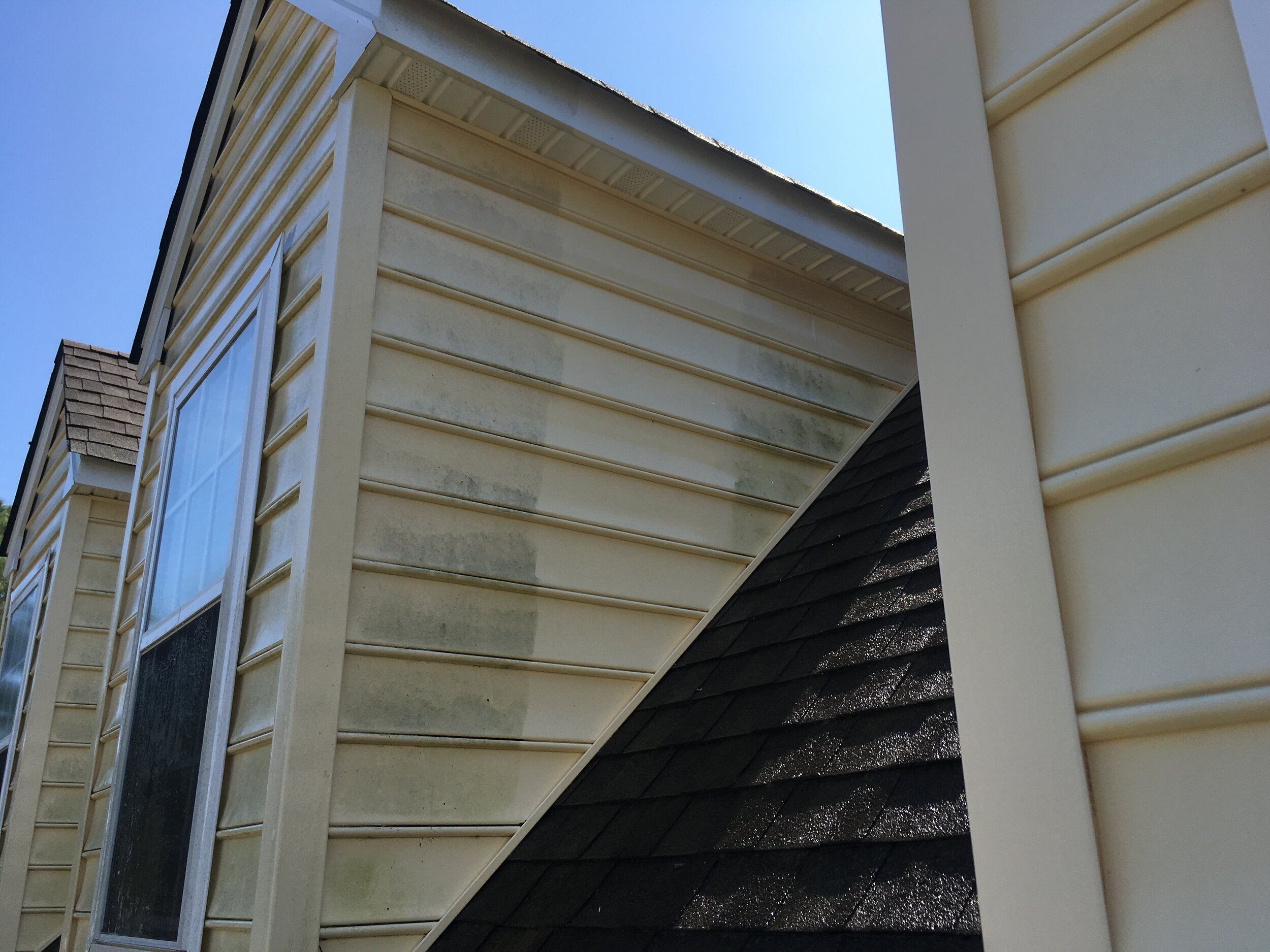 Pressure Washing Up close and personal - Pressure Washing Virginia Beach third story dormers with detail in mind not from the ground but up close and personal