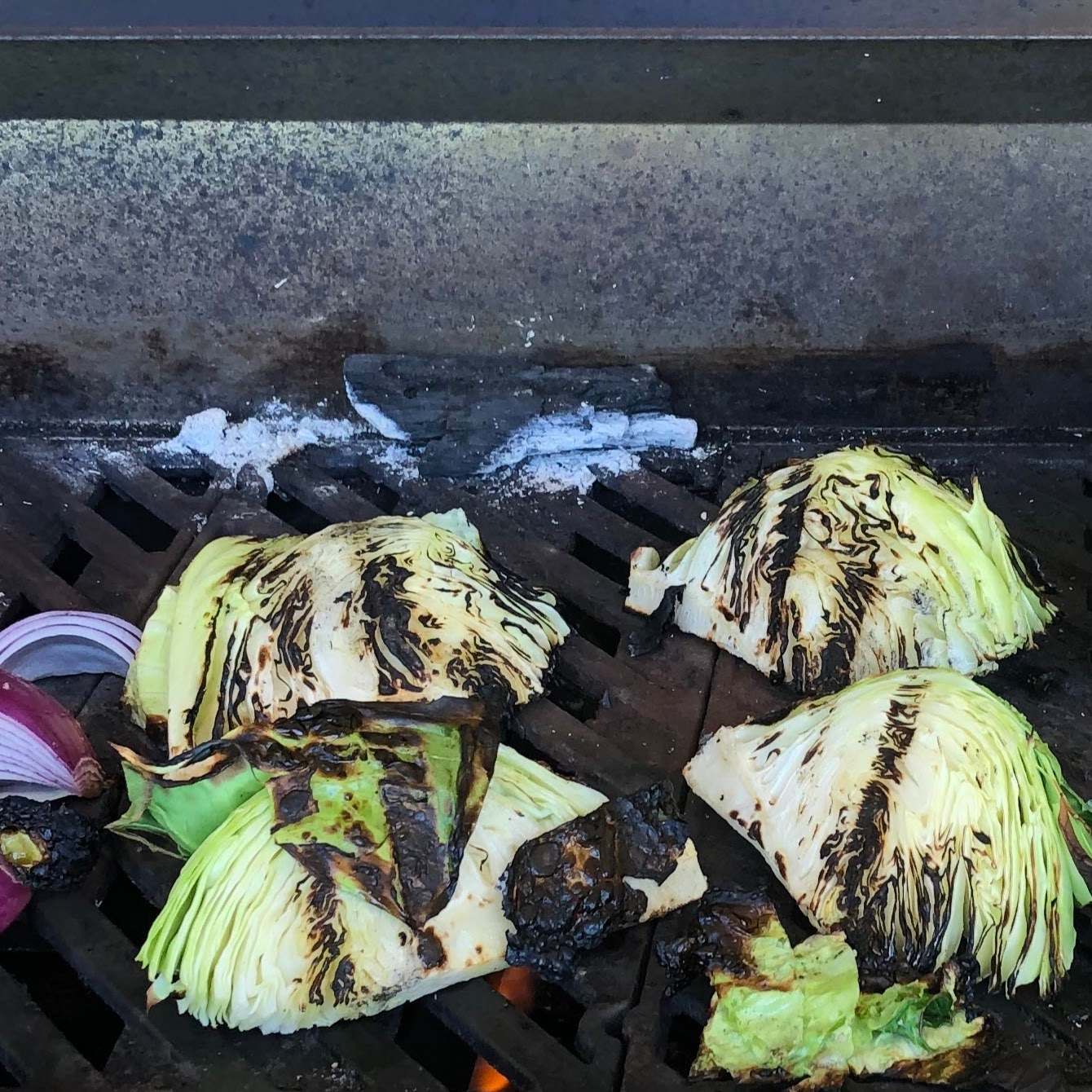 Cabbage (and a few red onions) on the Grill