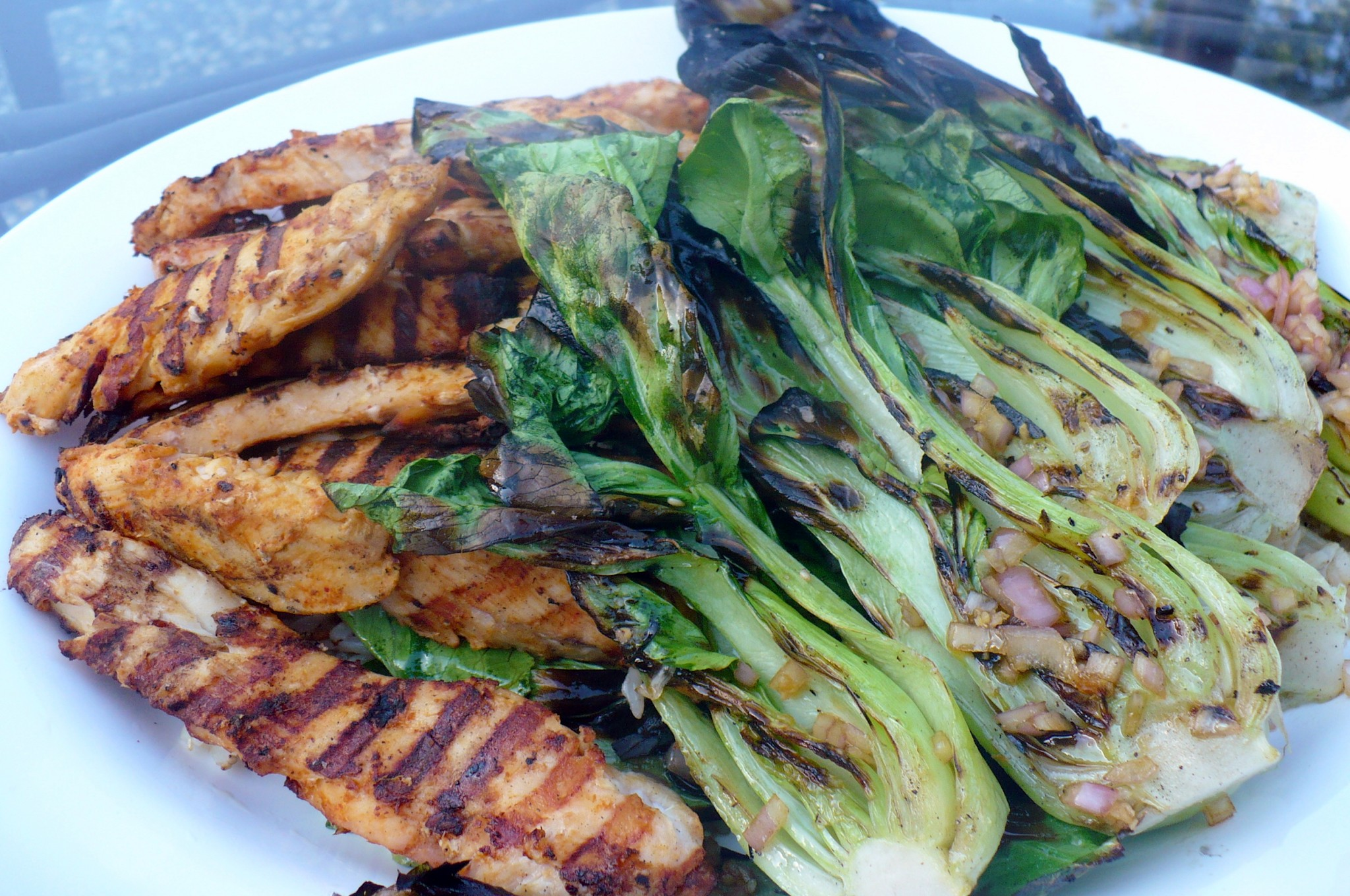 Thai Chicken Satays with Grilled Baby Bok Choy