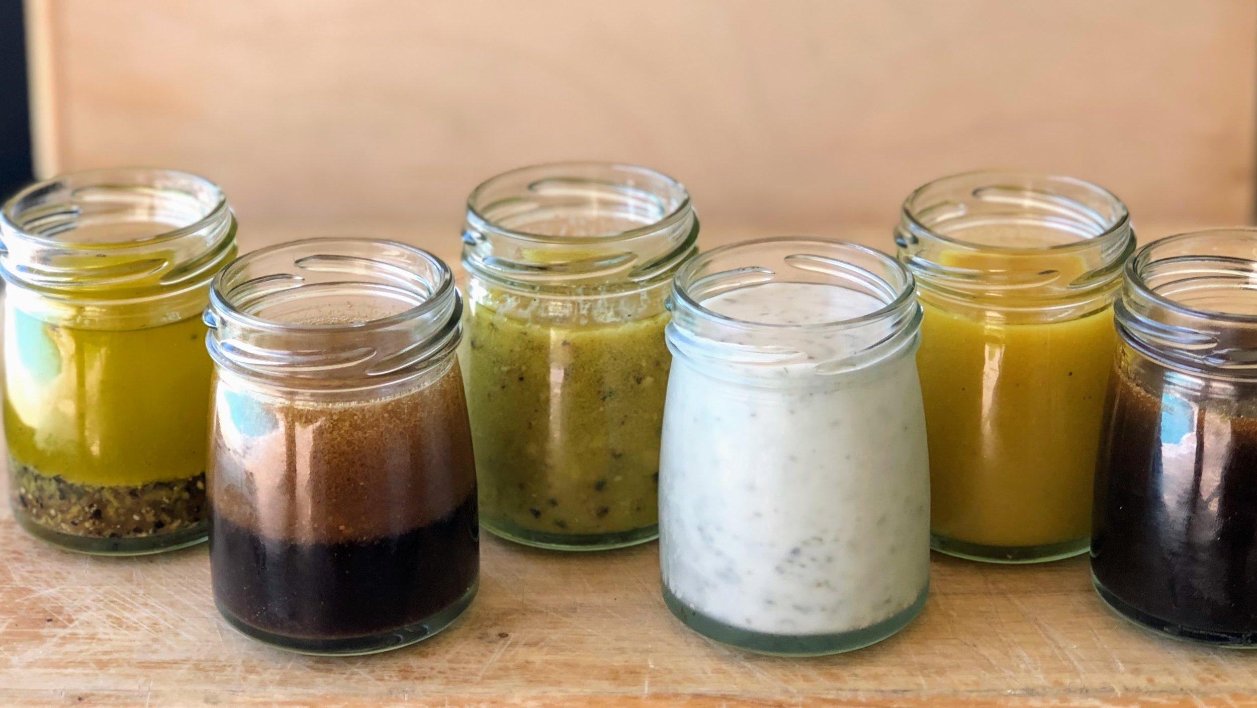 Left to Right - Lemon, Sesame Ginger, Basic, Ranch, Honey Mustard, Sweet Balsamic