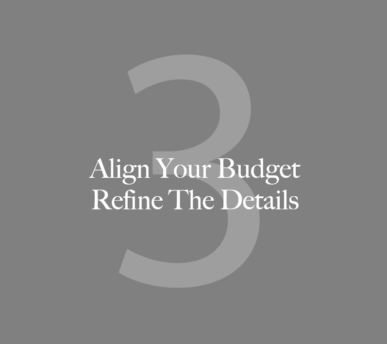3. Align your budget + refine the details