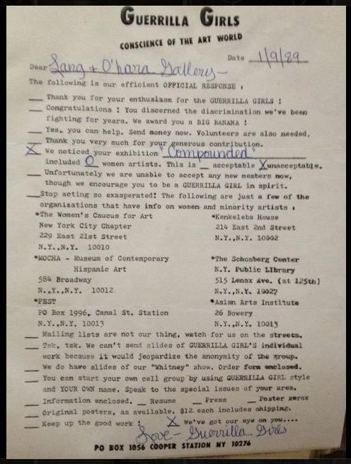 Gorilla Girls letter to Karin Bravin