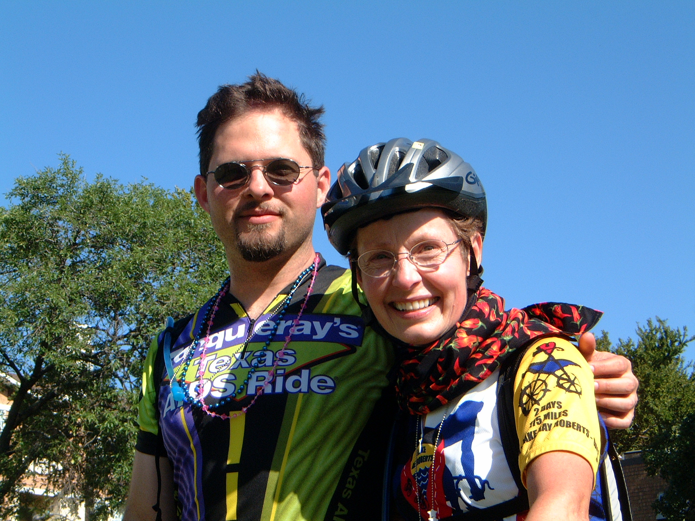 "Pictured: Hayne and his mother, Sally, after a century ride (100+ miles) on her 60th birthday. - ""My view is that people who had to move away would not have had to do so if the resources that AOC provides today had been available then."""