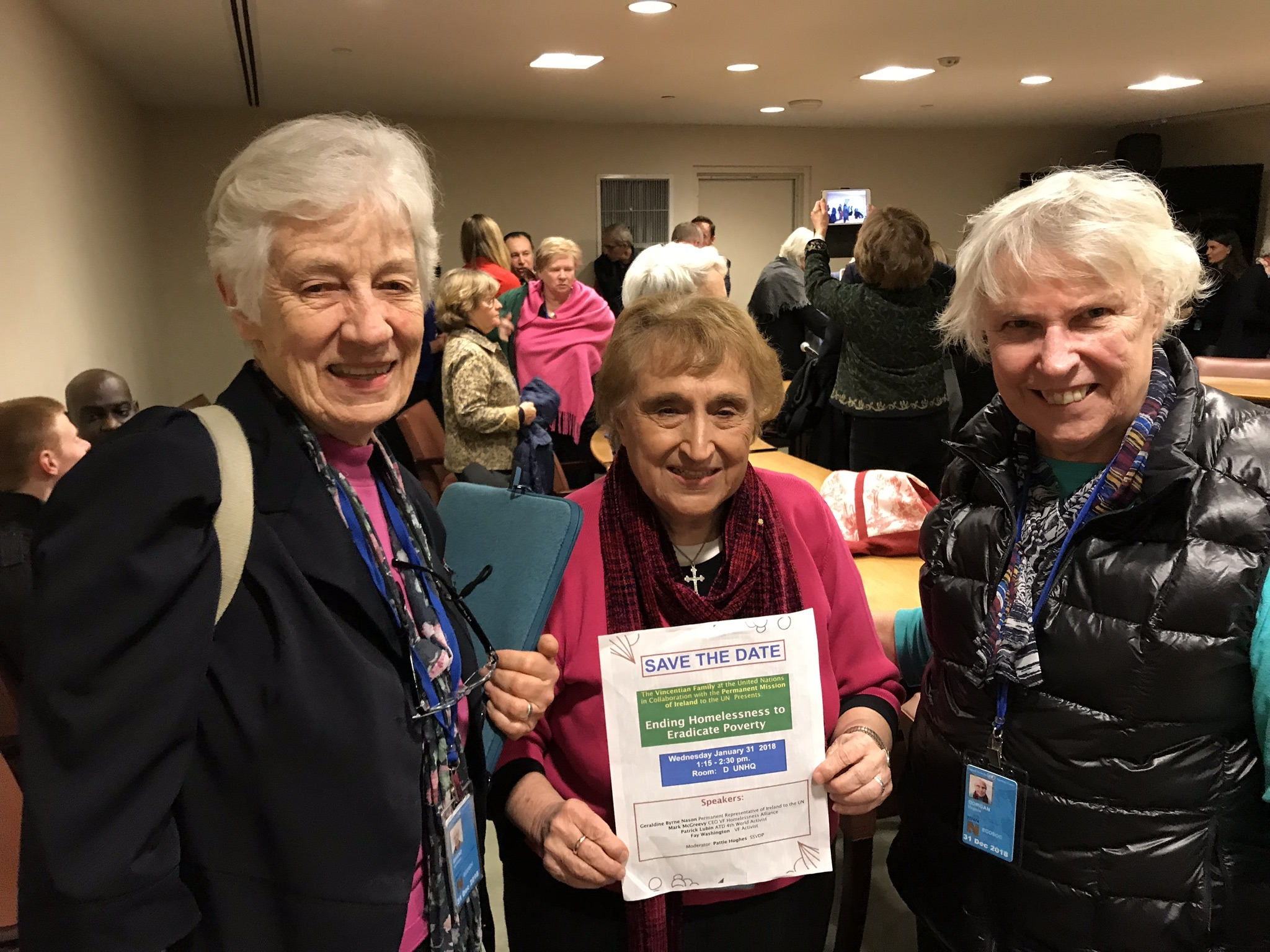 "RSHM Sisters Veronica Brand, Kathleen Kanet and Virginia Dorgan at the UN Session on ""Ending Homelessness to Eradicate Poverty"" (1/31/18)"