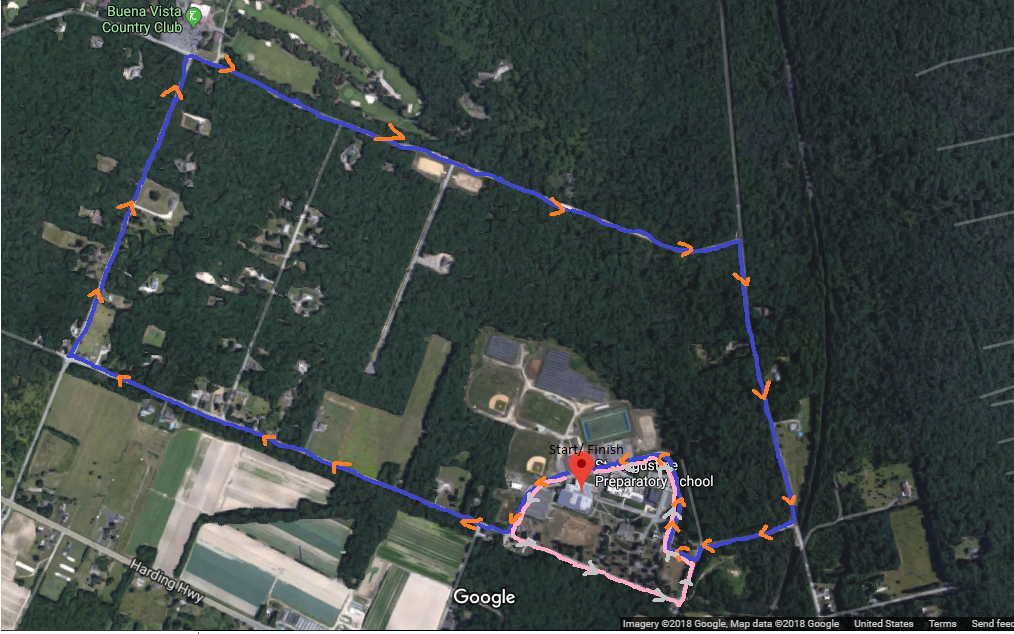 Course Map  Blue-5k  Pink- 1 Mile Walk  The course is predominatly pavement with a section that is on a gravel road.