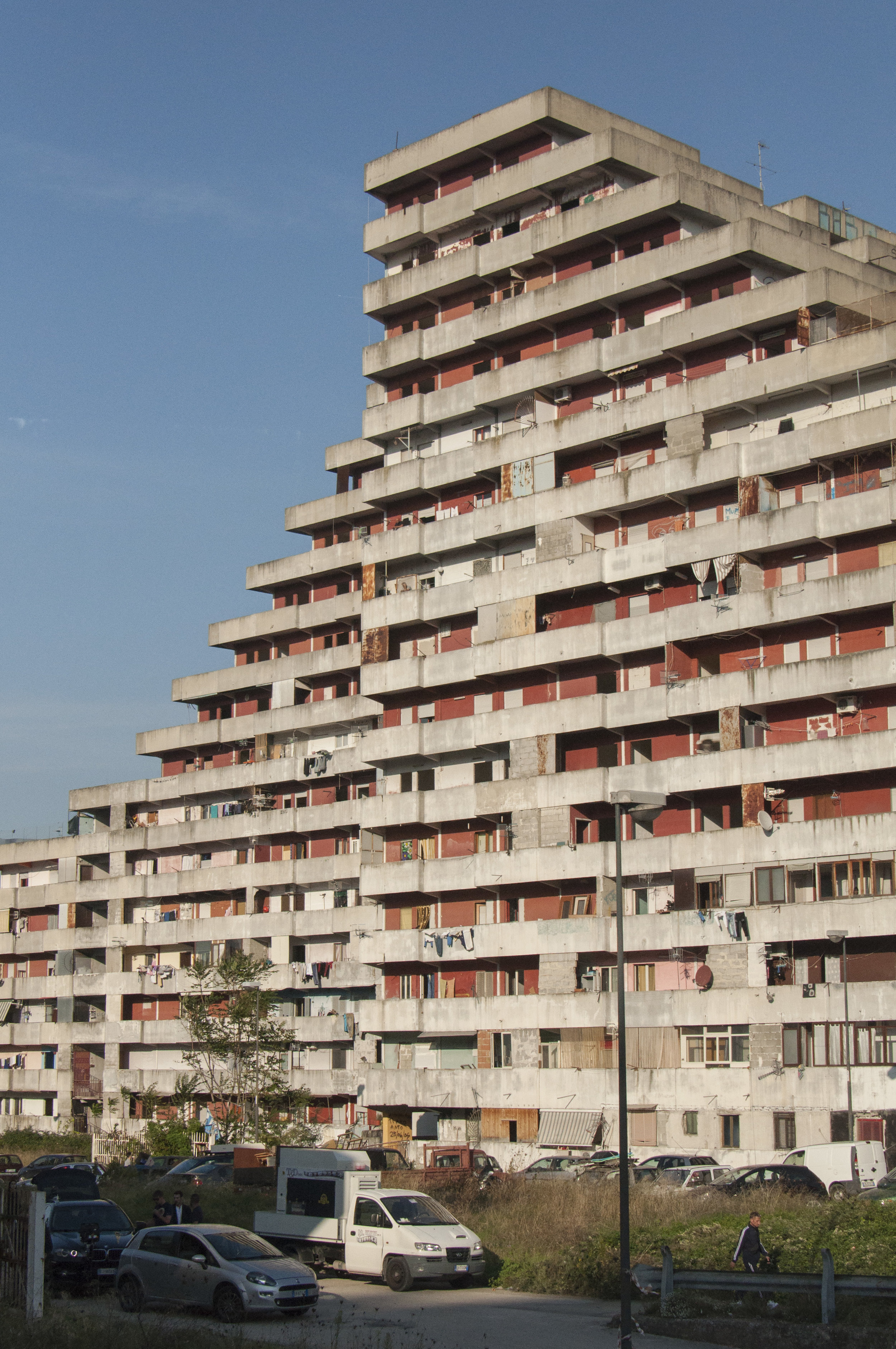 One of the Sails of Scampia. Housing unit in the Secondigliano district designed by Franz Di Salvo. Naples, Italy.