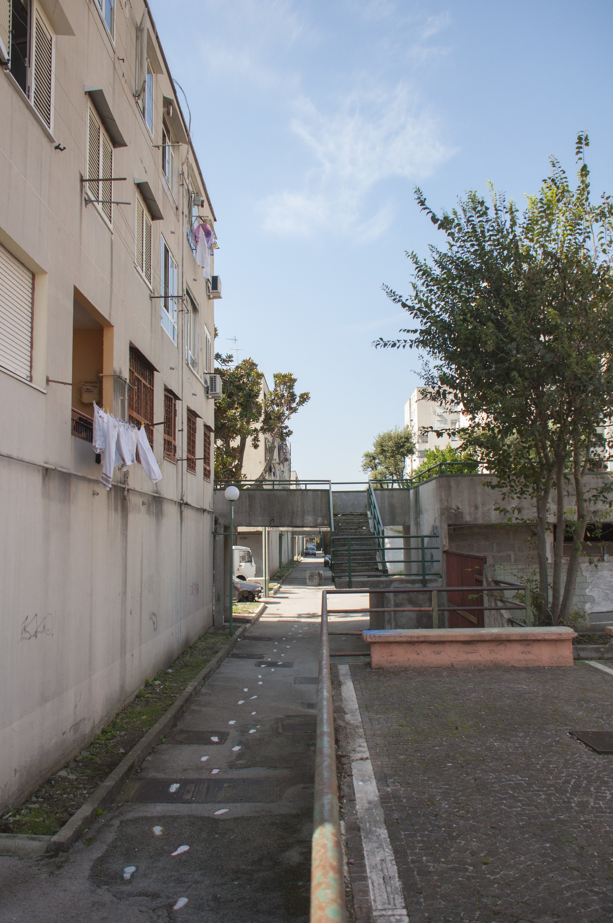 """The new Piazza di Spaccio, previously known in Naples to be a piazza for drug dealings. Located in front of the """"Officina delle Culture"""" in Scampia. Naples, Italy."""