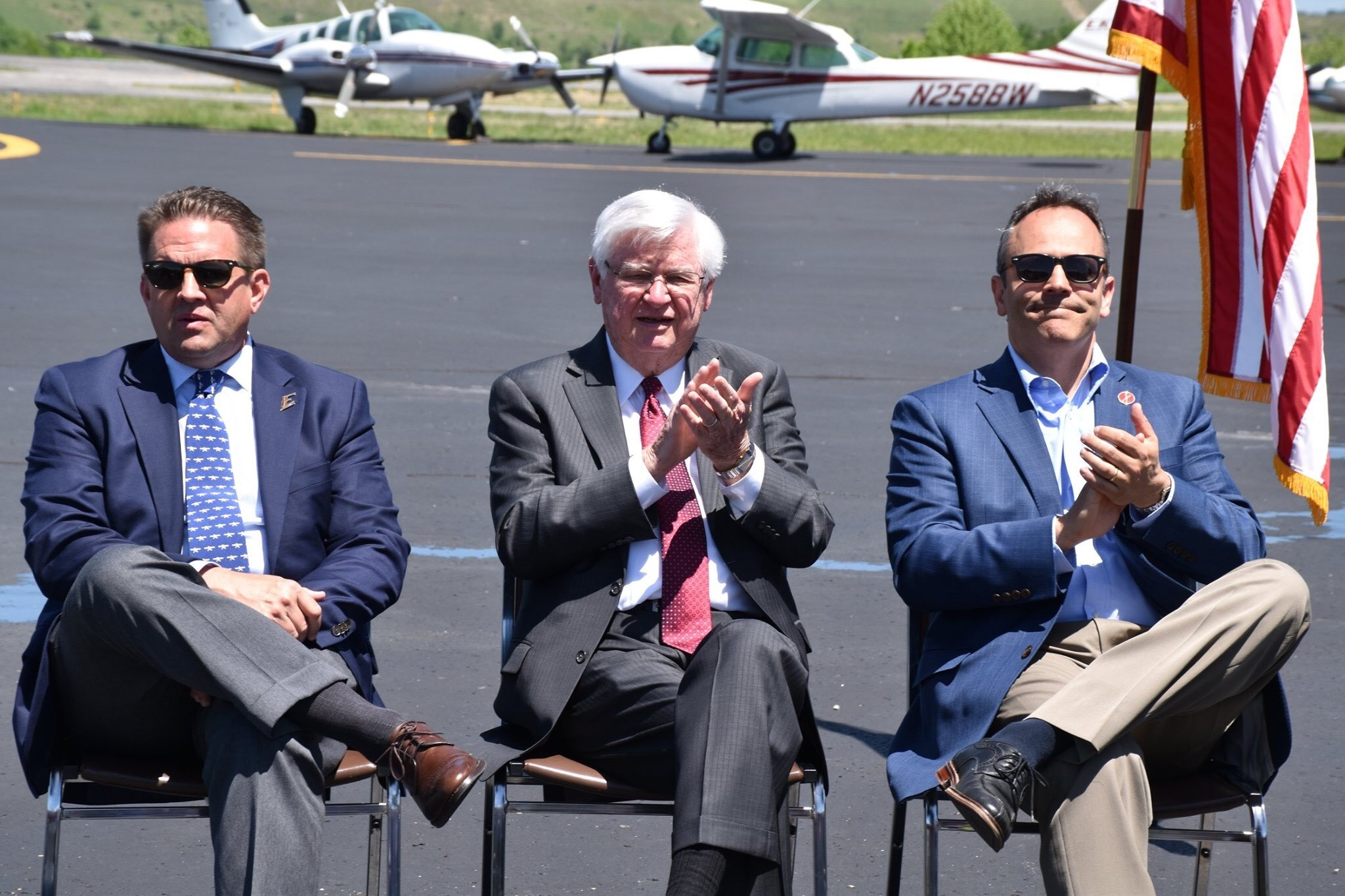 Eastern Kentucky University President Michael Benson, left, is shown with SOAR Principal Officers Congressman Hal Rogers, center, and Governor Matt Bevin during a press conference at the Wendell H. Ford Regional Airport in Chavies, Ky. on Monday, May 6.