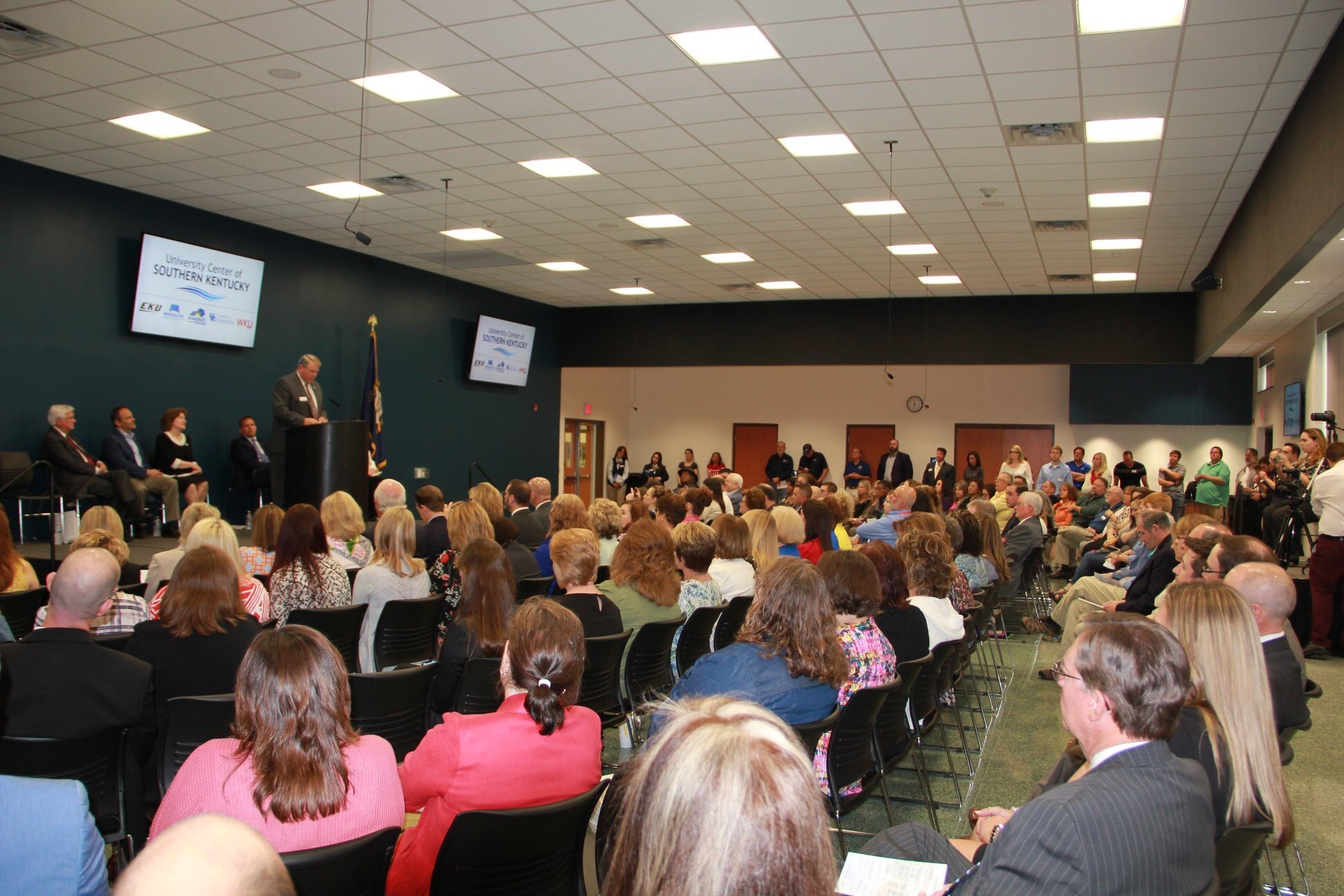 A standing-room-only crowd assembled at Somerset Community College on Monday, May 6 for an announcement of the four founding partners in the University Center of Southern Kentucky.