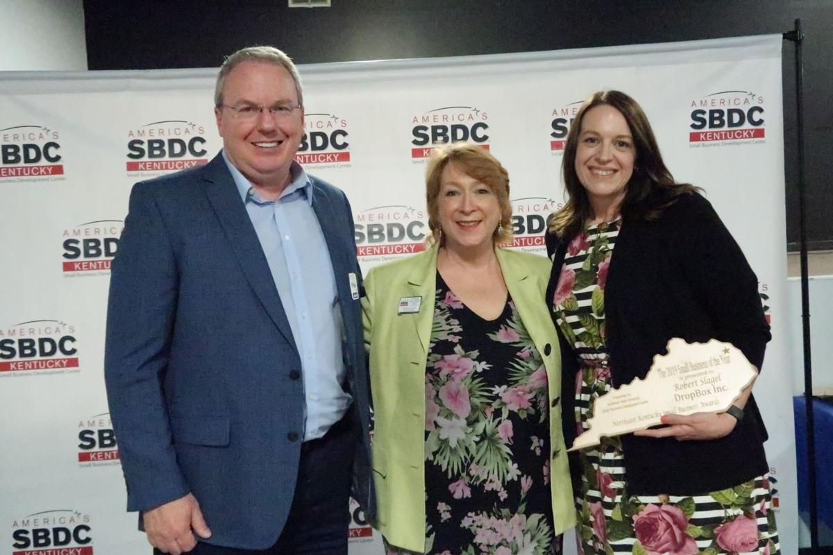 Mark Fields, general manager of DropBox, Inc., Kristina Joyce of the Kentucky Small Business Development Center and Megan Coffey of DropBox, Inc. are pictured. DropBox, Inc. was named the 2019 Northeast Kentucky Small Business of the Year.