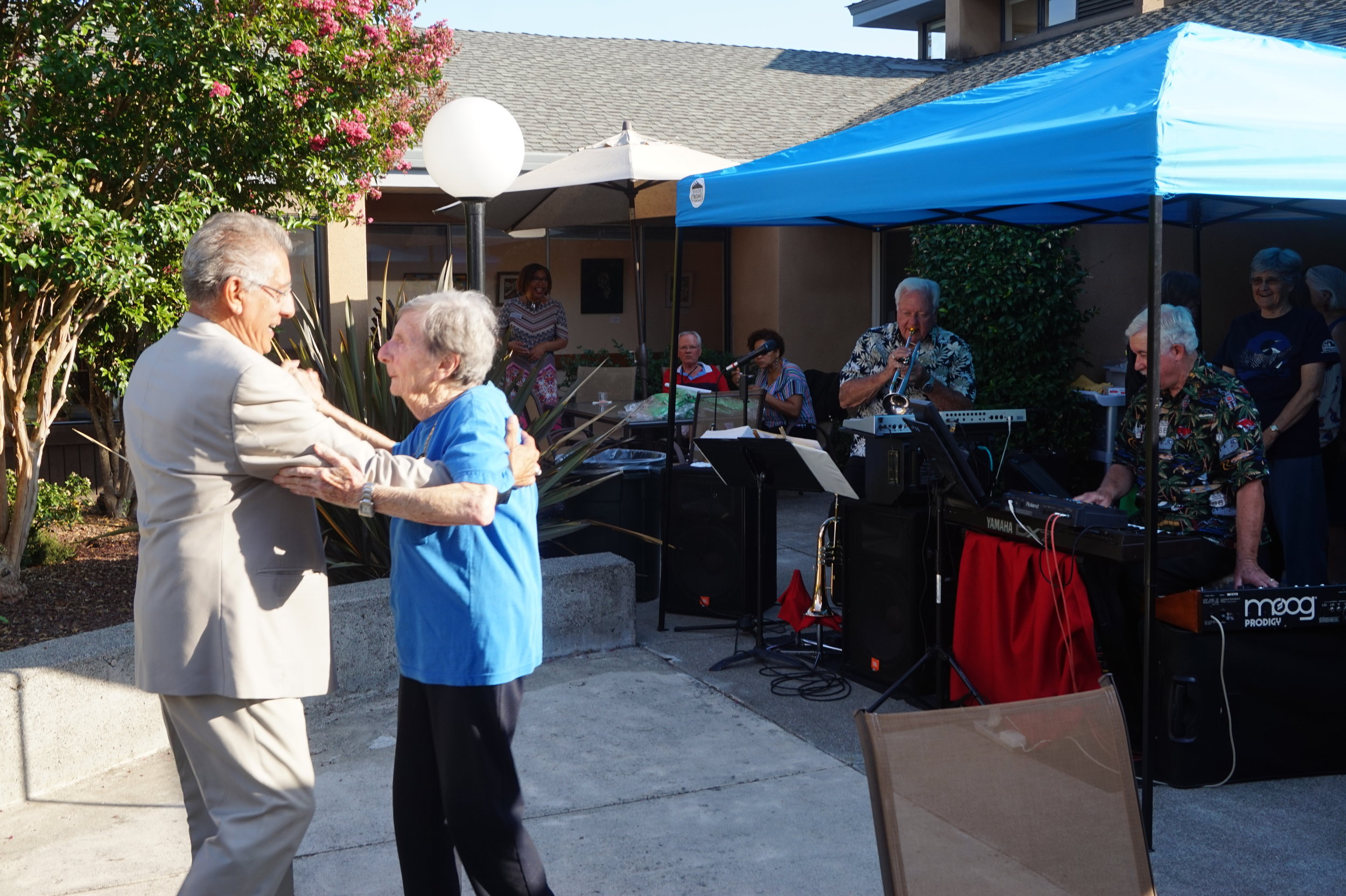 Our resident,Vera dancing at our annual Jazz in July event to the wonderful music of Jess Petty and Ken Chambers.