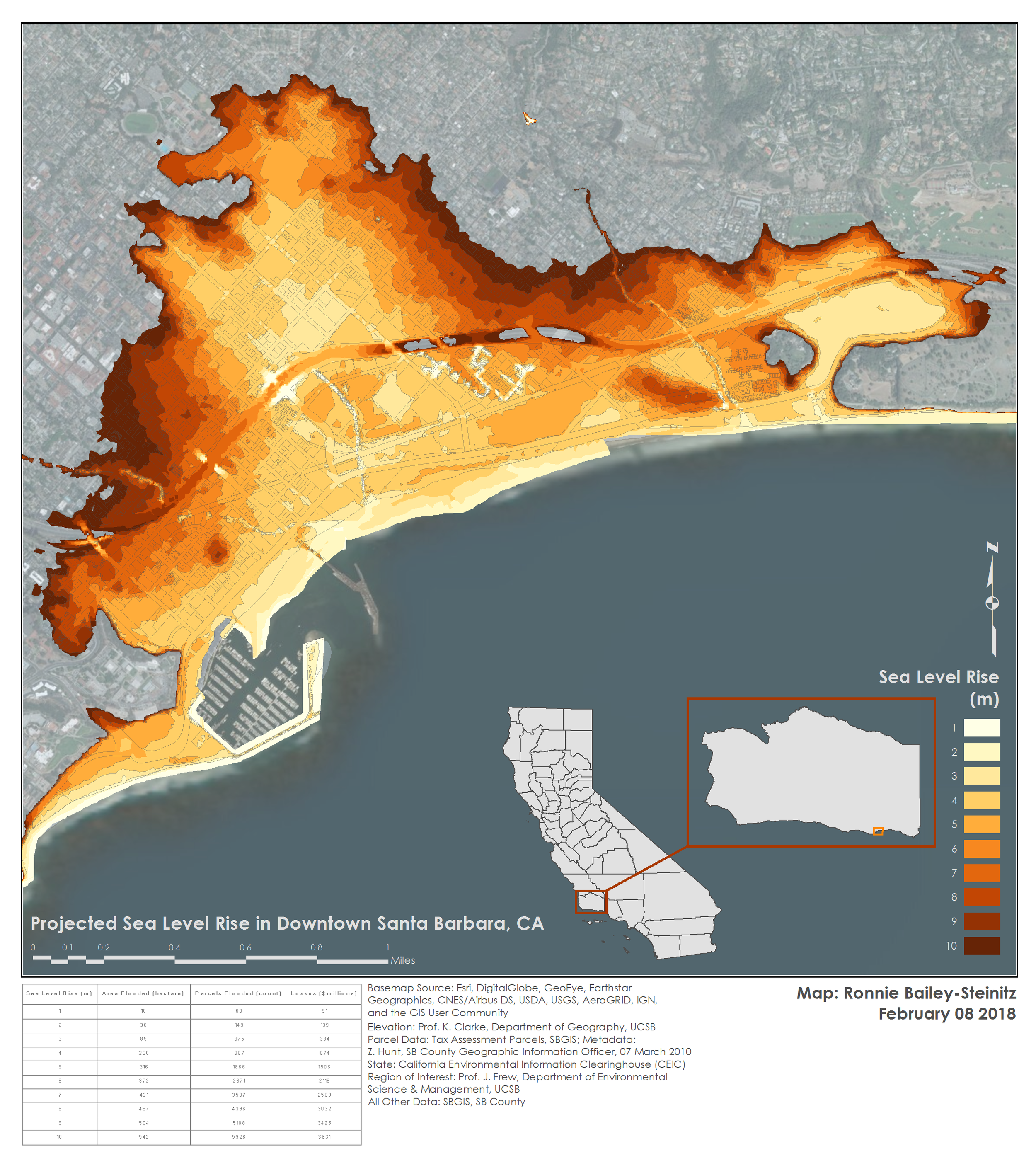 Sea Level Rise in Santa Barbara - GIS analysis and modeling, Winter 2018