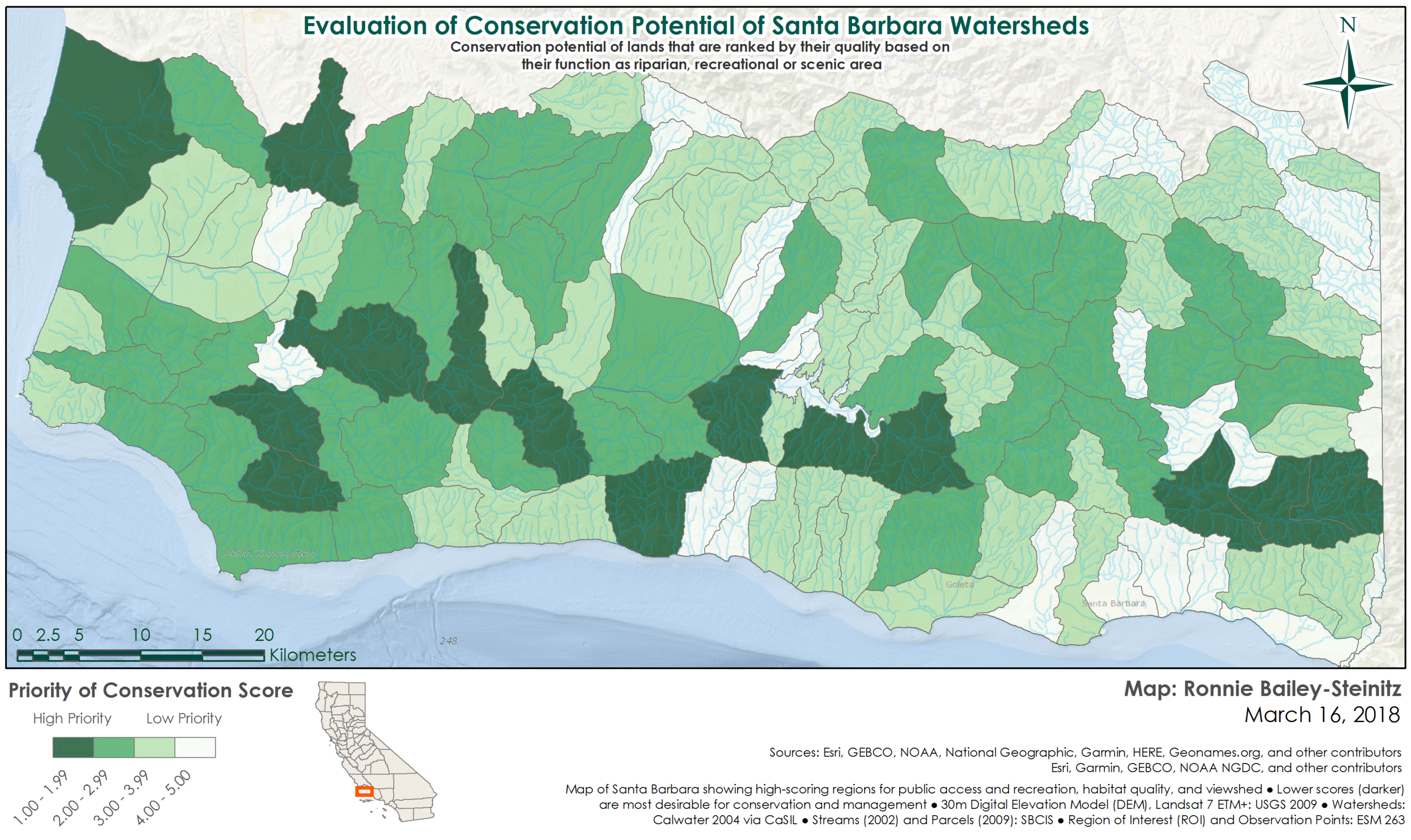 Evaluation of Conservation Potential in Santa Barbara - GIS analysis and modeling, Winter 2018