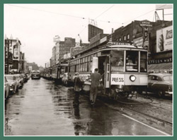 The last run of the streetcars in Minneapolis, 6th Street and Hennepin, 1954. Photo: Minneapolis Public Library