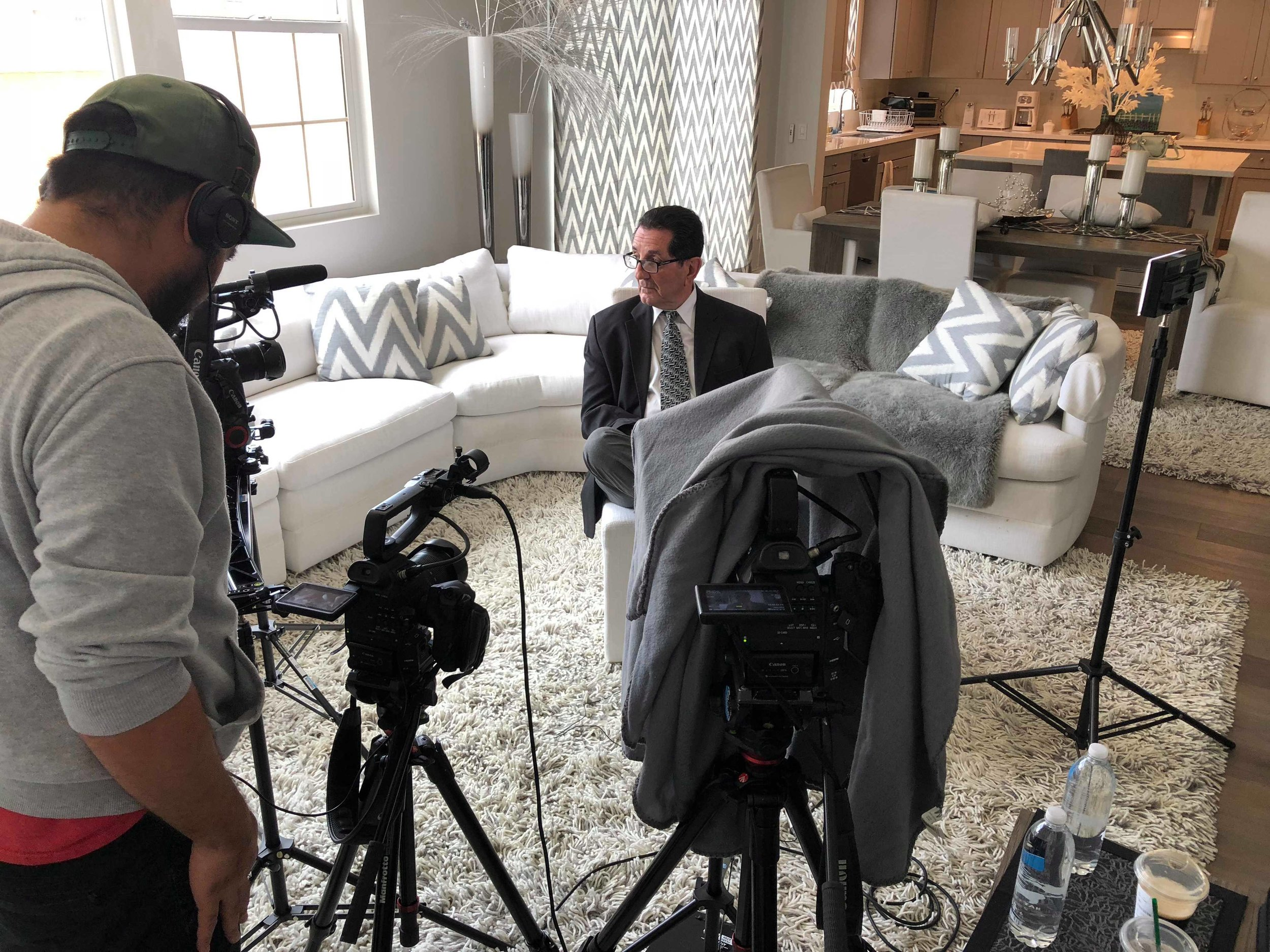 Associate Producer Julian Lim behind the camera before we begin our interview with Louis Pilato.