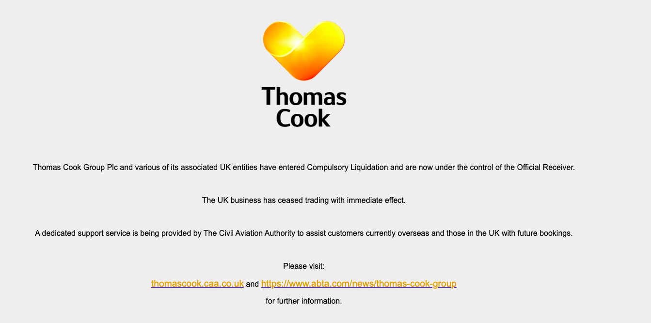 This is not the website you want to see when traveling Photo:  Thomas Cook.com