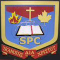 """The college crest embodies a cross to symbolize the redemptive work of Christ, an open Bible for the world, a flame representing the Holy Spirit, and a maple leaf to represent Canada. The Greek motto means """"Competency through Christ.""""  The college crest colours are: red, gold and sky-blue. Red speaks of the blood of Christ, gold of His deity, and blue of the heavenly destiny of God's people."""