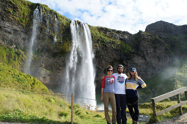 Katelyn, Marc and his sister, Hannah, at the foot of  Seljalandsfoss  in Iceland