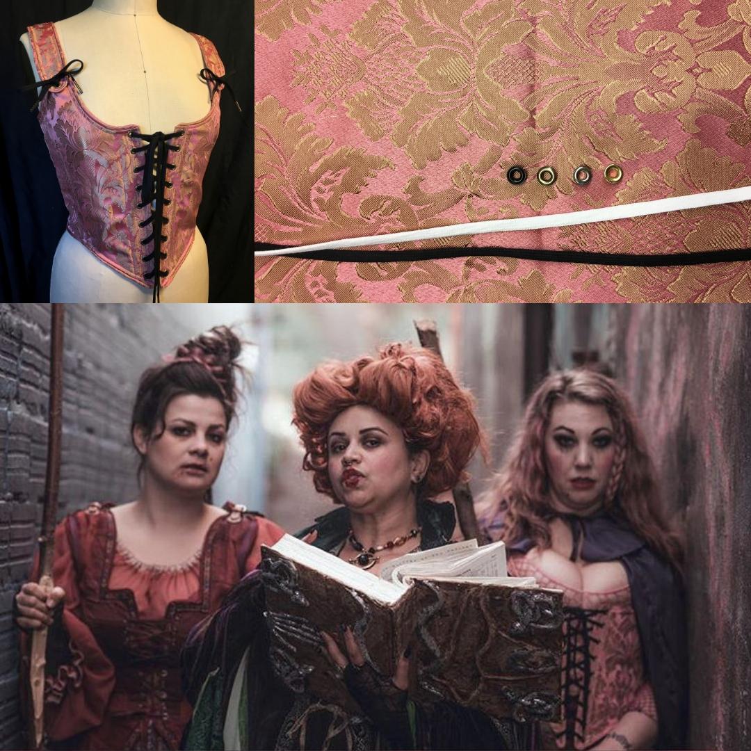 Danielle (far right) in custom fabric