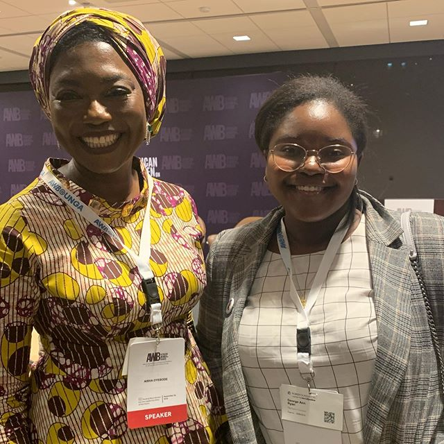 I've been up since 6 am and have just had my first meal after a full day of work and classes so excuse me delirious grin in this photo but  I had the amazing opportunity to meet the founder of Bring Back Our Girls, Oby Ezekwesili and speak to her about my work at @sadiecollective at the #AWBatUNGA.