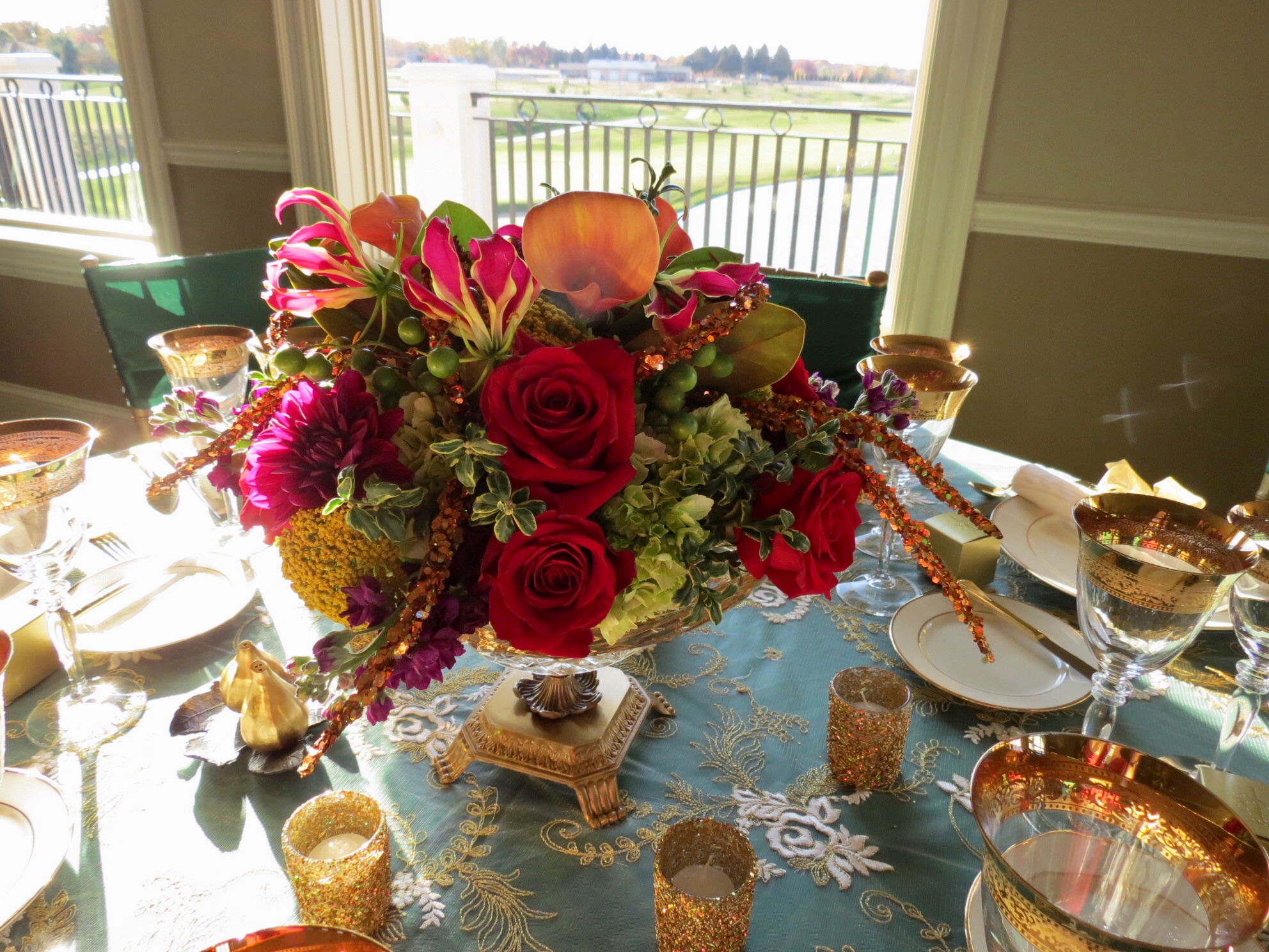 50th Anniversary Party at Metamora Fields // Linens, Floral Decor, & Table Settings by Michele's
