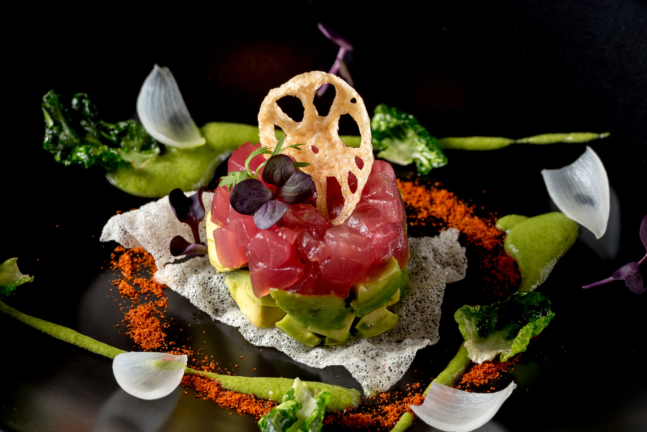 Ahi Tuna Crudo with Avocado, Rice Chip, Pickled Pearl Onion, and Lotus Root  (6).jpg
