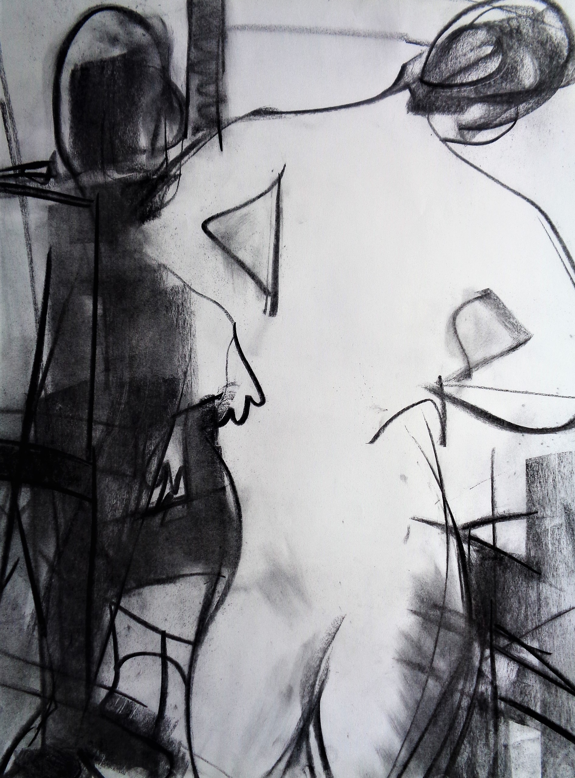 "Study #4, 2017, Charcoal on Paper,  24 x 18"""