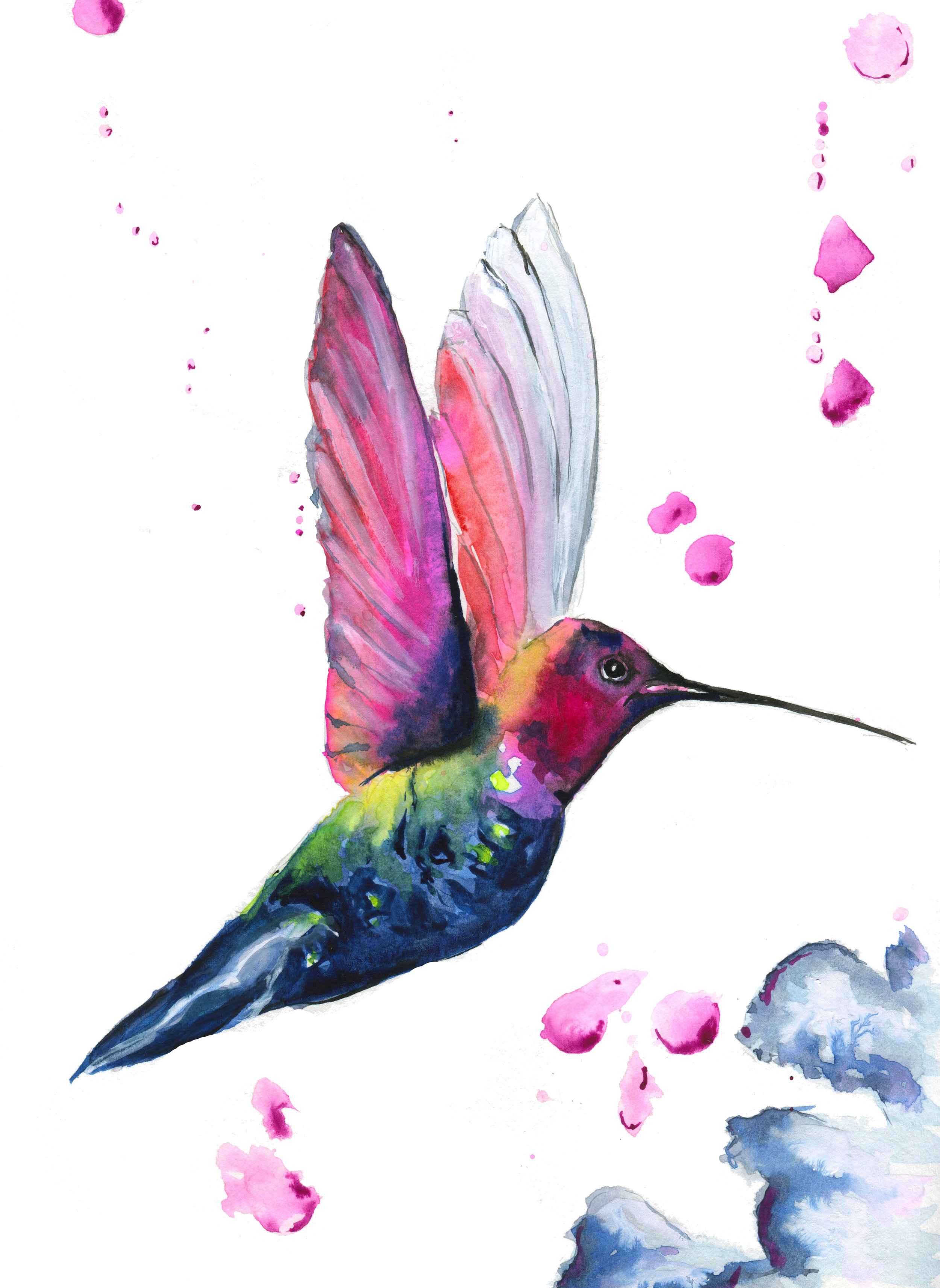 Hummingbird bedroom print - My client was in the process of having her bedroom redecorated and wanted a piece of art to match her Hummingbird wallpaper. She sent me a few samples of the wallpaper and I came up with three different birds. This is the winning design!