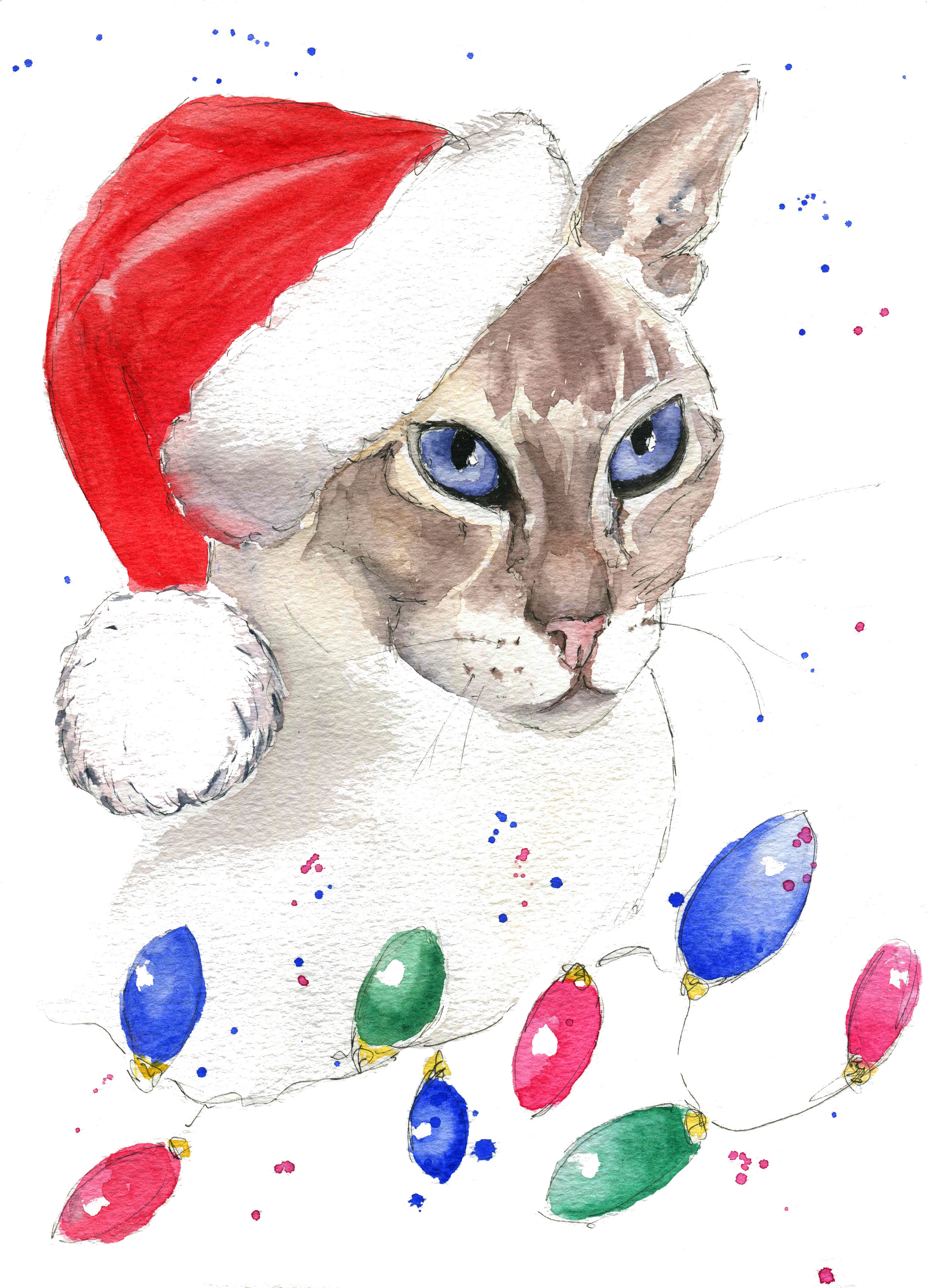 Bea - I painted Bea's portrait earlier in 2018 and Bea's Mum asked me to do a Christmas version for a bespoke set of Christmas cards. She is also part of my Christmas card collection.